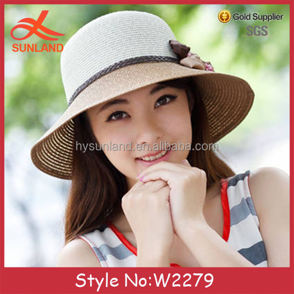 W2279 fashion sun protection ladies womens summer millinery hat Vintage Straw Hat