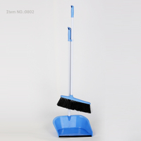 HQ0802 green soft indoor dustpan and broom plastic brush and dustpan set