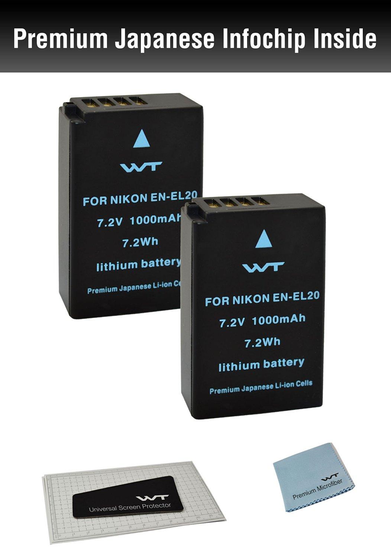 ( 2Pack ) WT Nixxell Battery for Nikon EN-EL20, Nikon EN-EL20a, MH-27, Nikon Coolpix A, Nikon 1 AW1, Nikon 1 J1, Nikon 1 J2, Nikon 1 J3, Nikon 1 S1, Nikon 1 V3, and Blackmagic Pocket Cinema Camera (Fully Decoded)