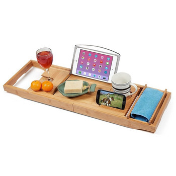 Expandable bathroom bathtub bamboo bath tub caddy tray with wine glass book tablet phone soap holder