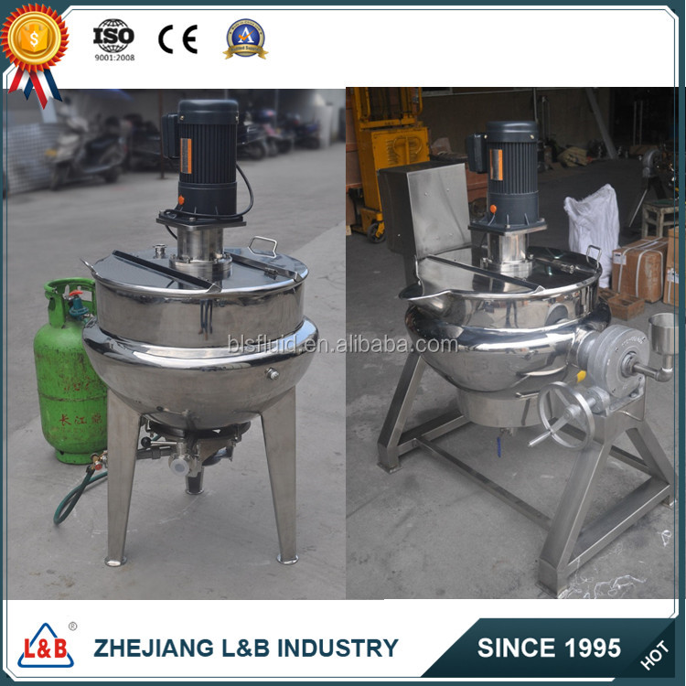 Tilting Gas/Electric Heating Jacketed Kettle with Agitator Double Layer