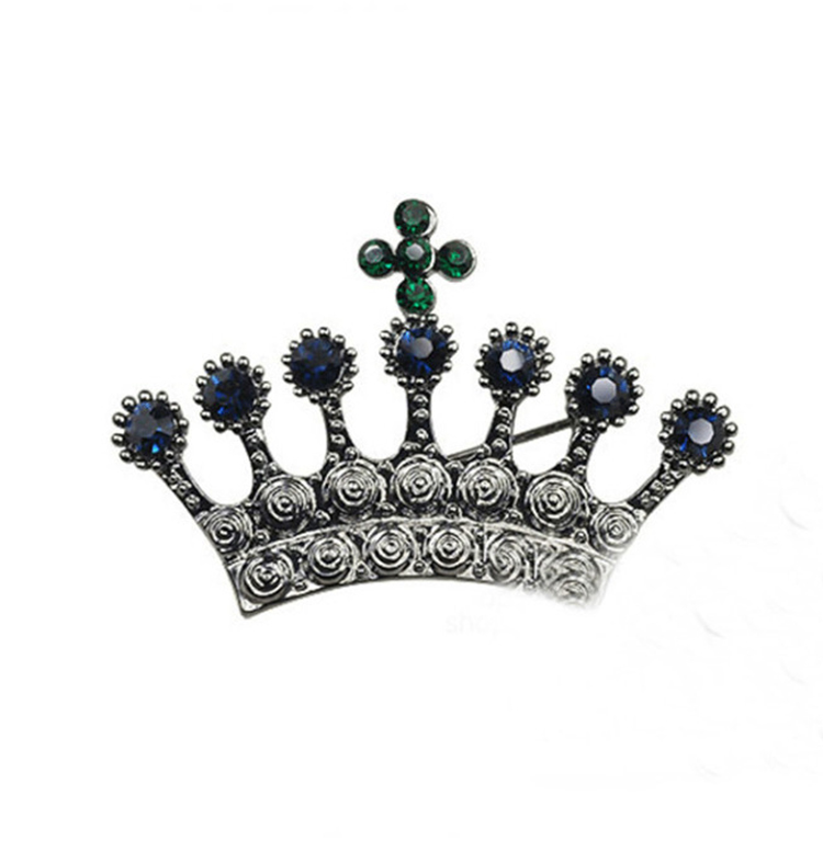 Fashion Gun Black Alloy Korean Crown Crystal Pin Brooch
