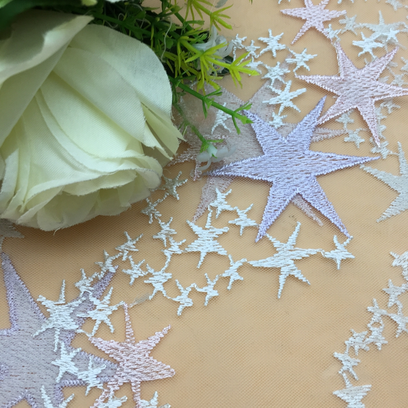 starfish Design 100 polyester tulle dress mesh star lace fabric for dress