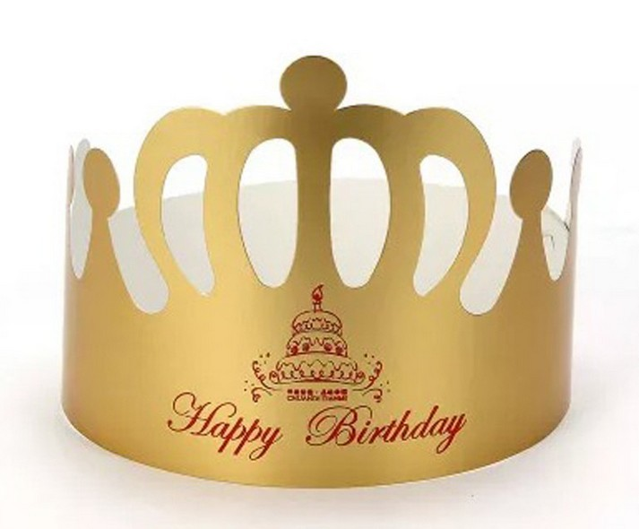 Nice Gold Color Crown Paper Party Hat For Birthday
