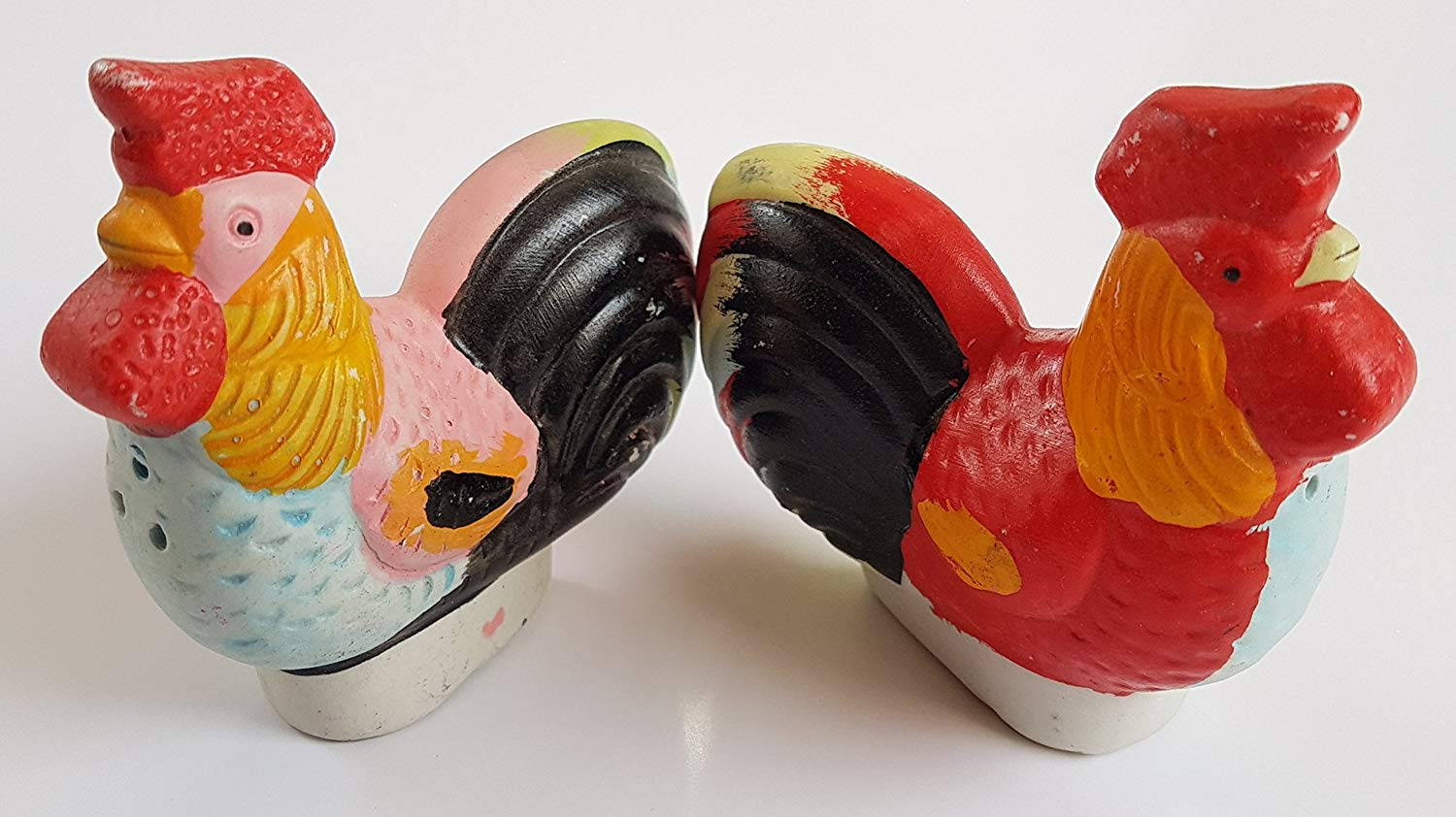 Y BUY Y Salt and Papper Shaker Set of 1 Chicken and 1 Hen collectors items COLORFUL ROOSTER SALT AND PEPPER SHAKERS
