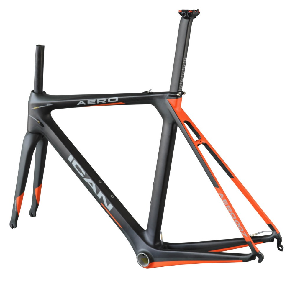 Ican New Arrival Carbon Road Racing Bike Frame With 700C*25mm Max Tire Size, Nature / customized
