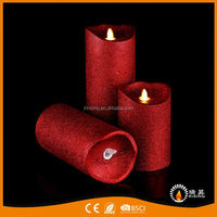 RISING factory sale elegant red flameless wax pillar led candle