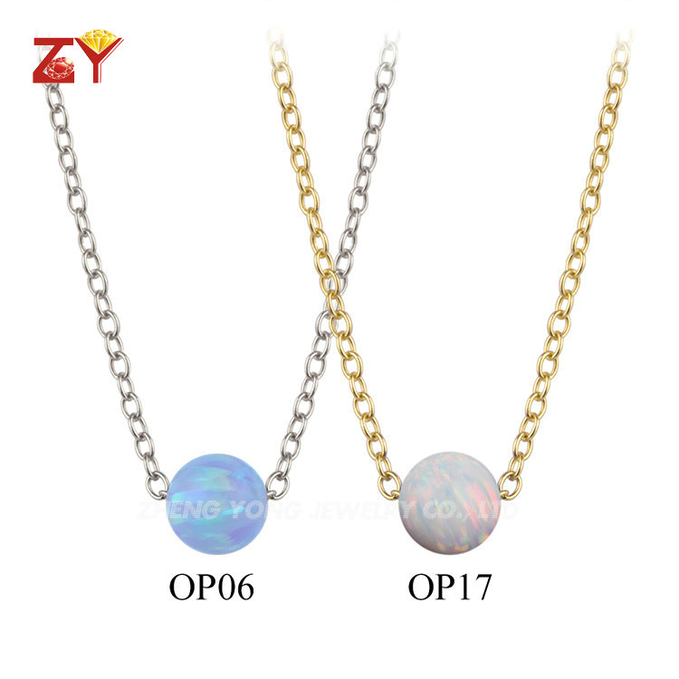Gold/Rose Gold/White Gold Plated 925 Sterling Silver Link Chain Opal Bead Necklace for Young