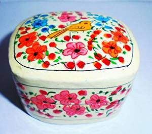 Artcollectibles India Rare Christmas Gift ---Beautiful KASHMIR HANDPAINTED Jewelry / TRINKET BOX