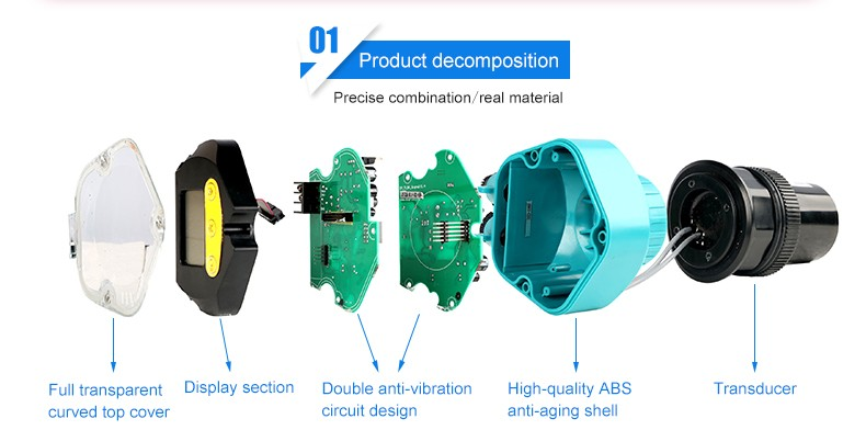 Ultrasonic water level sensor for continuous level measurement