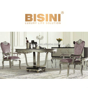 European Neoclassic Style Victoria Dining Room Furniture Round Table Set