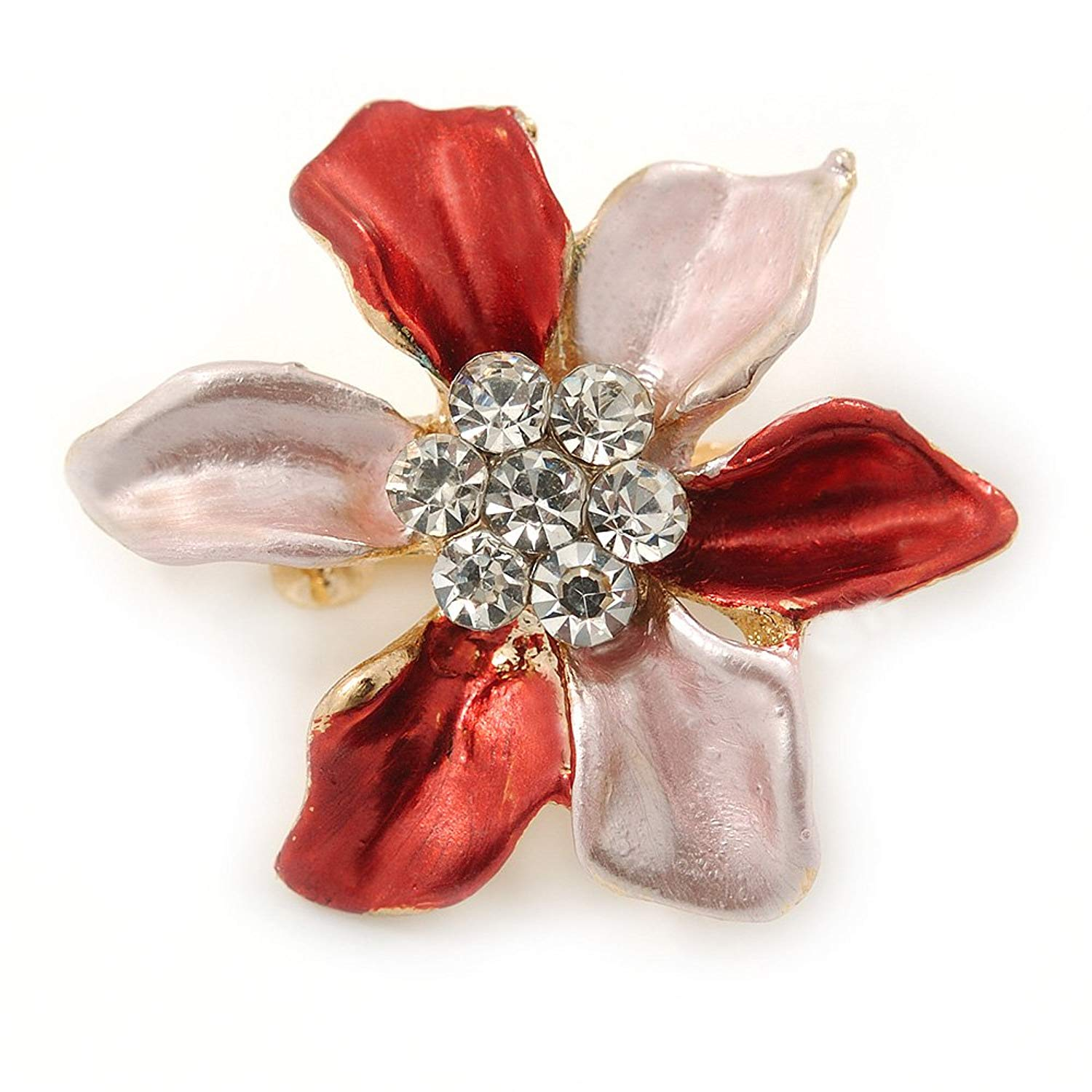 Small Coral/ Pink Enamel, Clear Crystal Flower Brooch In Gold Tone - 27mm
