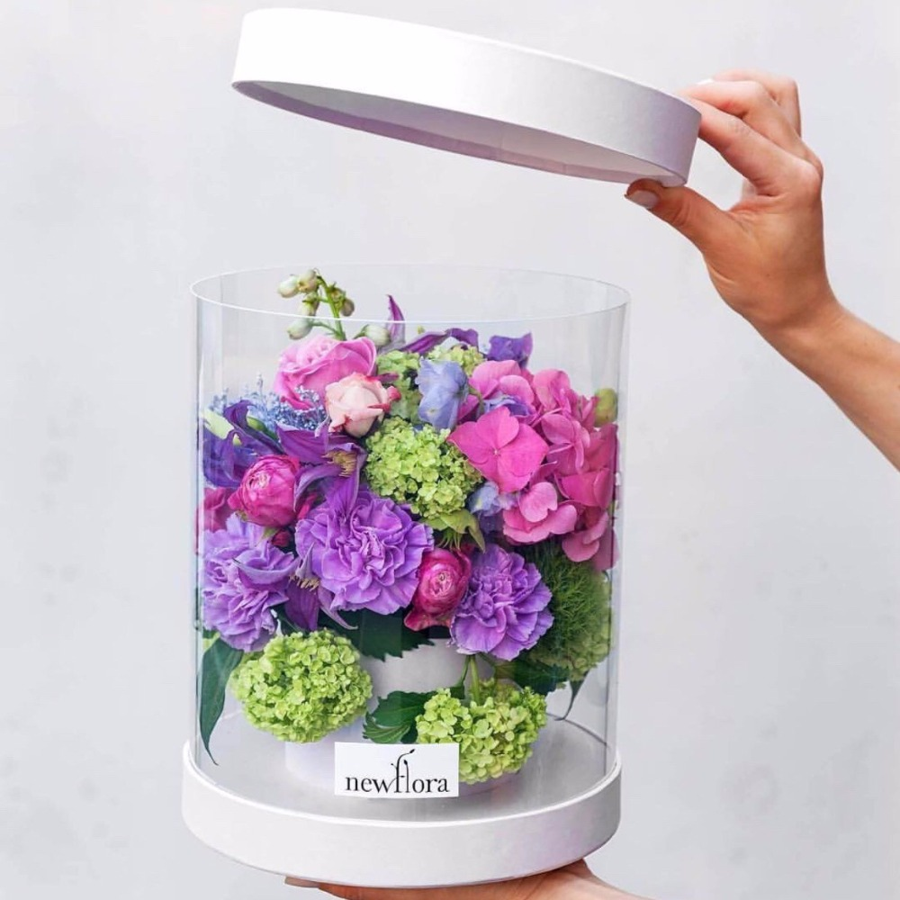 Exquisite Preserved Flower Delivery Box Round Clear Plastic Flower