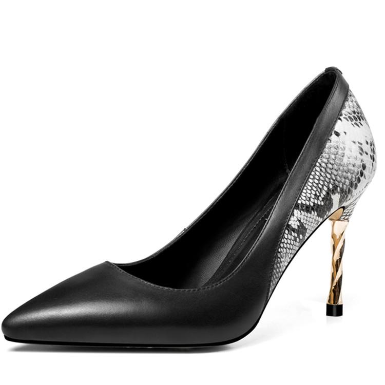 woman fashion new high black leather arrive heels 2018 shoes xqxOEPIw1