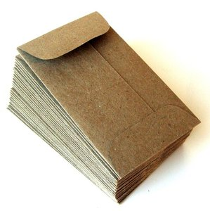 Mini Natural Kraft Envelopes (Brown Bag) with Open End . 2.25 x 3.75