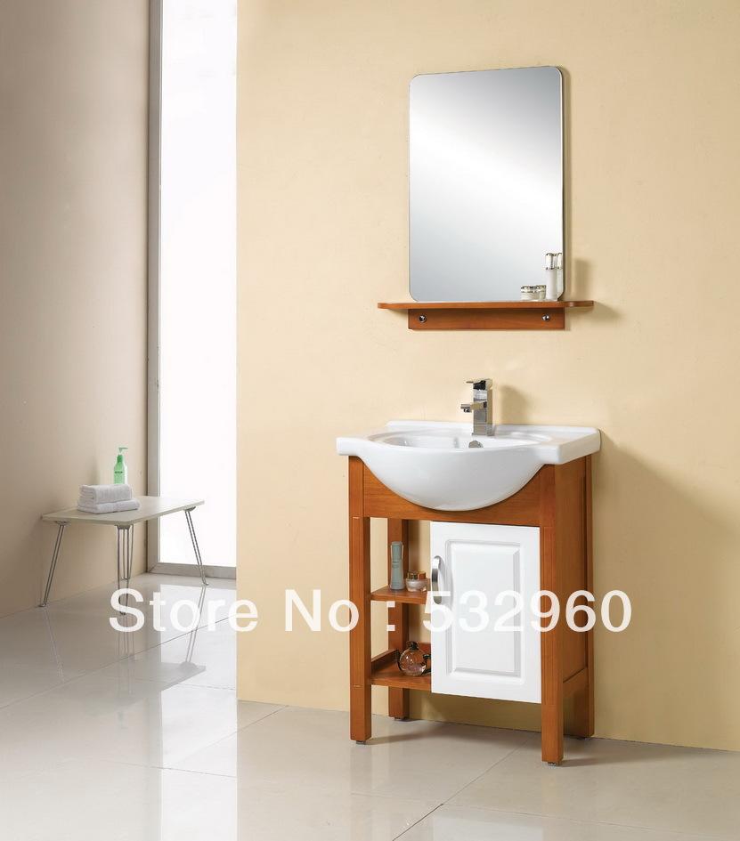 24 inch 18mm thailand oak with towel bar and shelf mirror - Wooden bathroom mirror with shelf ...