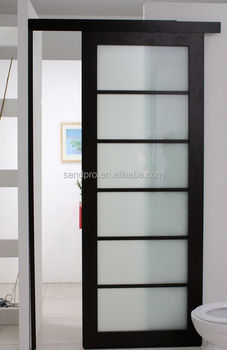 Single Panel Interior Room Divider Frosted Glass Sliding Toilet