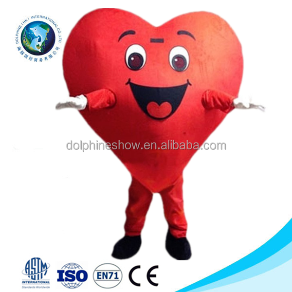 2015 New valentine fashion cute party adult custom red heart mascot costume