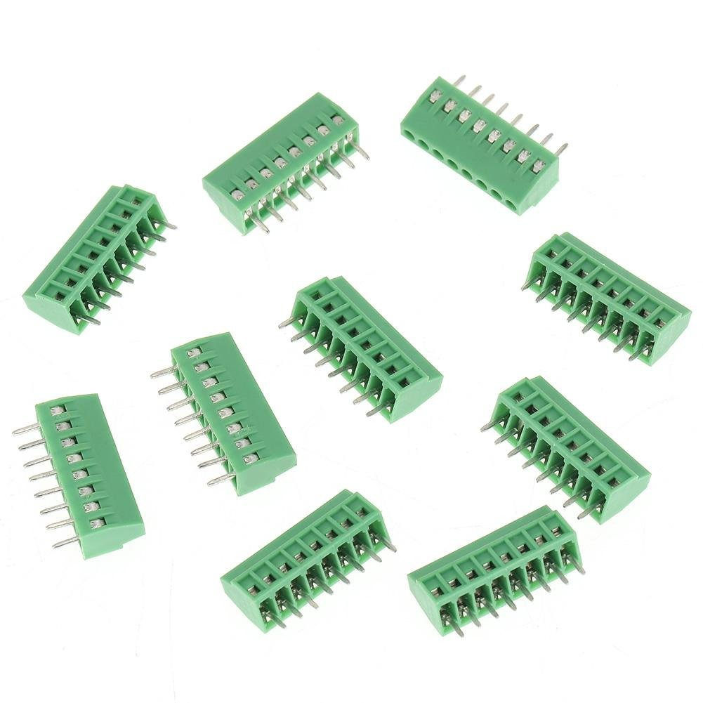 10Pcs 8 Pin Terminal Block Connectors, 8 Pin 2.54mm Pitch Mount Power PCB Screw, Green Terminal Block Connector
