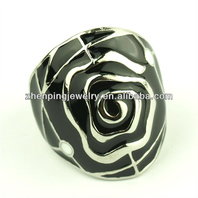 China market stainless steel jewelry black enamel ring
