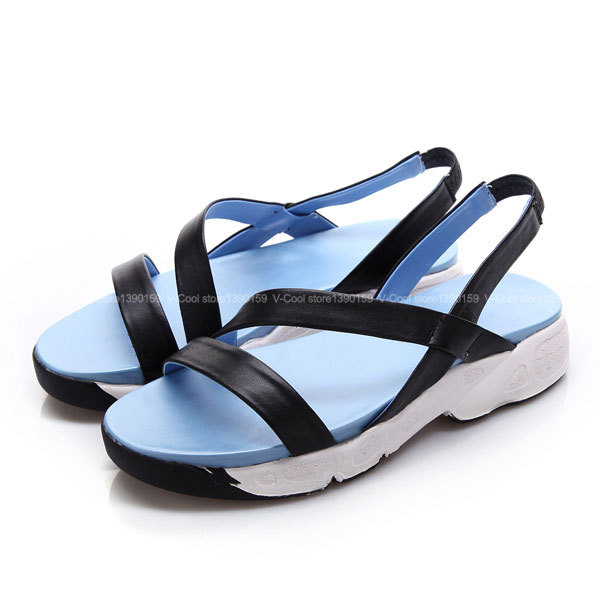 Brand Designer Sandalias Mujer Women 2015 Sky Blue Sandals Lady's Girls Summer Sandalias A Shoes Leather Slipper Sandals