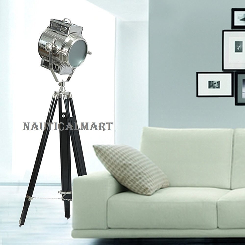 NAUTICALMART CONTEMPORARY FLOOR LAMP NAUTICAL SEARCHLIGHT ON TRIPOD STAND FOR DRAWING ROOM