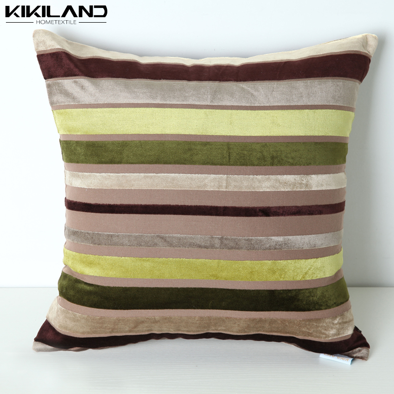 velvet stripe colorful home decor cushion cover
