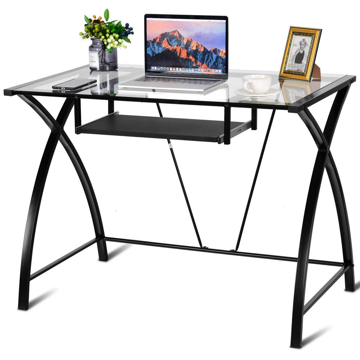 ShopForAllYou Desk Table Office Clear Glass Top Computer Desk w/Pull-Out Keyboard Tray Home Office Furniture