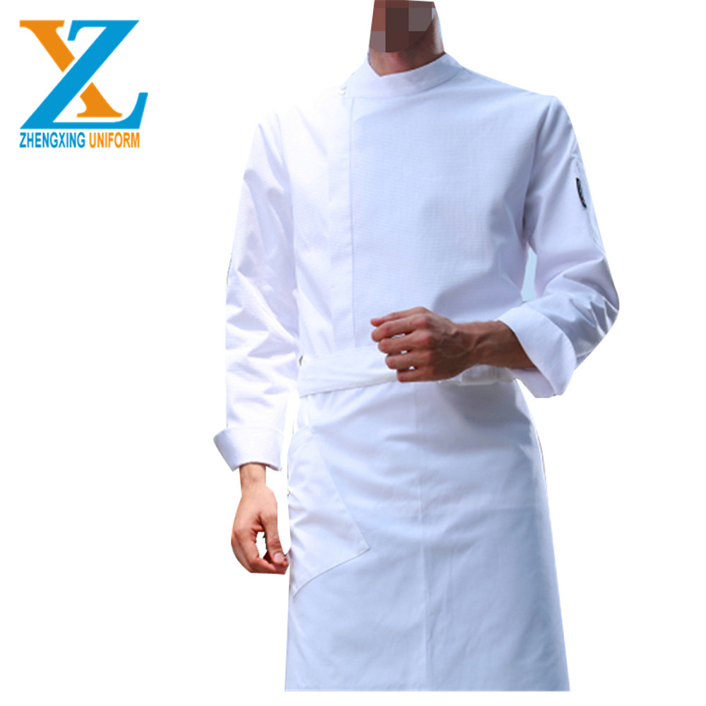 Restaurant Unisex kitchen Long Sleeve Top Design Chef Uniform Italian white black new chef uniform design