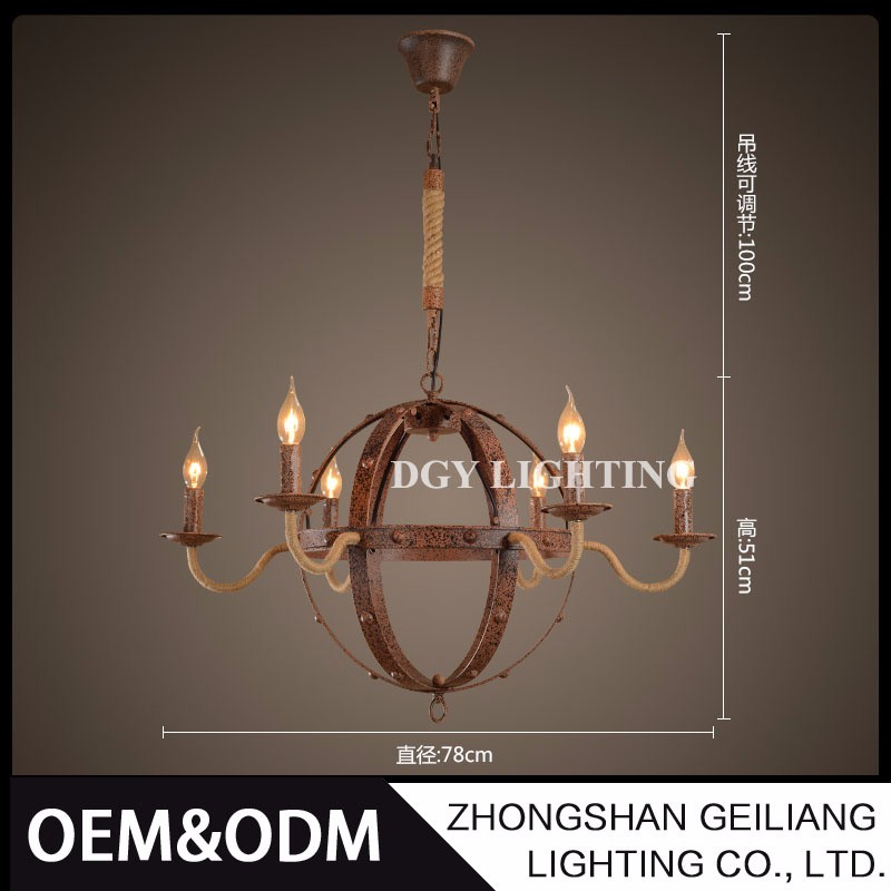 indian wholesale 6 candle bulbs 220v loft hanging intage retro hemp rope pendant light lamp e14 for restaurant