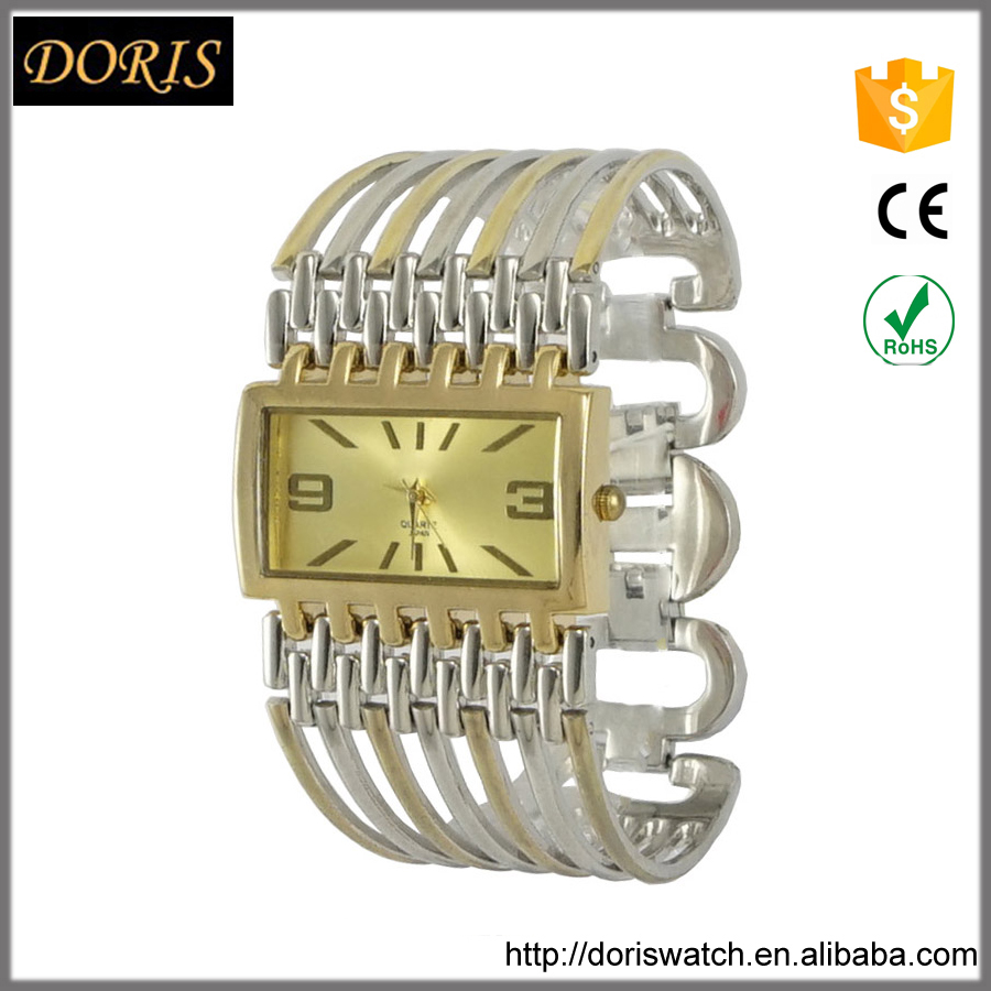 Exclusive design square case big bracelet watch stainless steel back watch women
