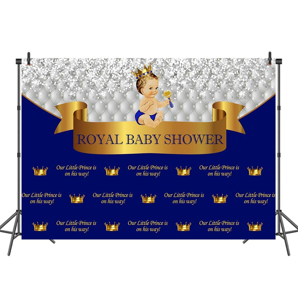 Mehofoto Royal Baby Shower Backdrop Little Prince Photography Backdrops Royal Blue Background Banner for Newborn Baby 7x5 Professional Custom Photo Backdrop