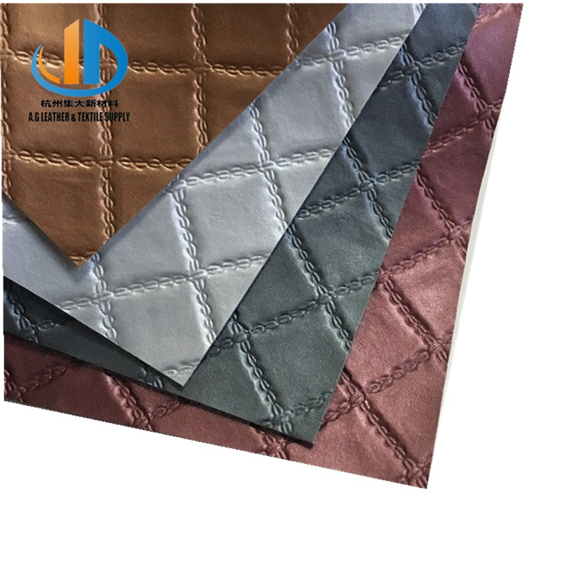 China cheap price embossing diamond pattern embossing pvc leather for women handbags decoration hotel