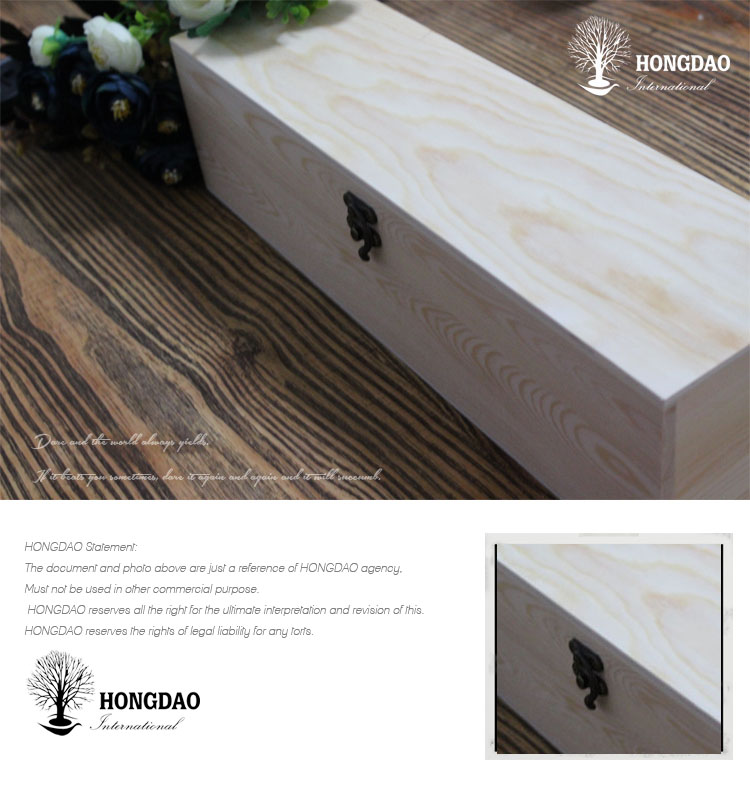 HONGDAO custom made 핫 세일 미완성 pine wood box single wine gift 포장 나무 상자