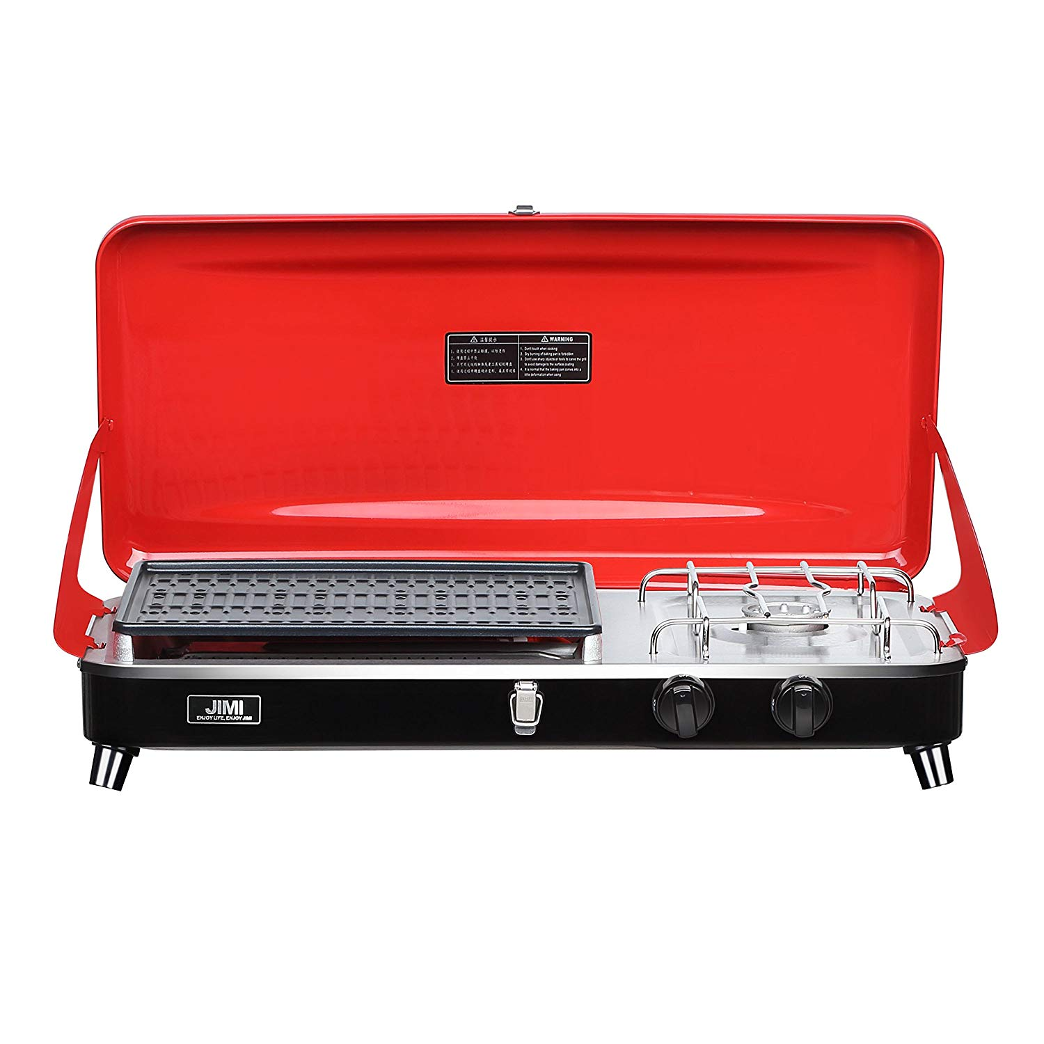 Outdoor Dual-Burner Camping Grill/Stove Portable Gas Grill Tailgating Cooker with Hose and AdapterOutdoor Propane Camping Grill/Stove Portable Gas Grill Dual-Burner Tailgating Cooker with Hose (Red)