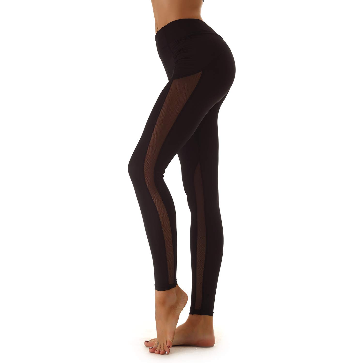 03a753eb2ea94 Get Quotations · NINE BULL Women's Sport Yoga Leggings High Waist Workout  Pants Mesh Tights for Running Jogging Gym