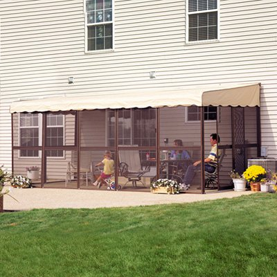 Get Quotations · Patio Mate 11 Panel Screen Enclosure Model 19165 Brown  With Almond Roof Canopy