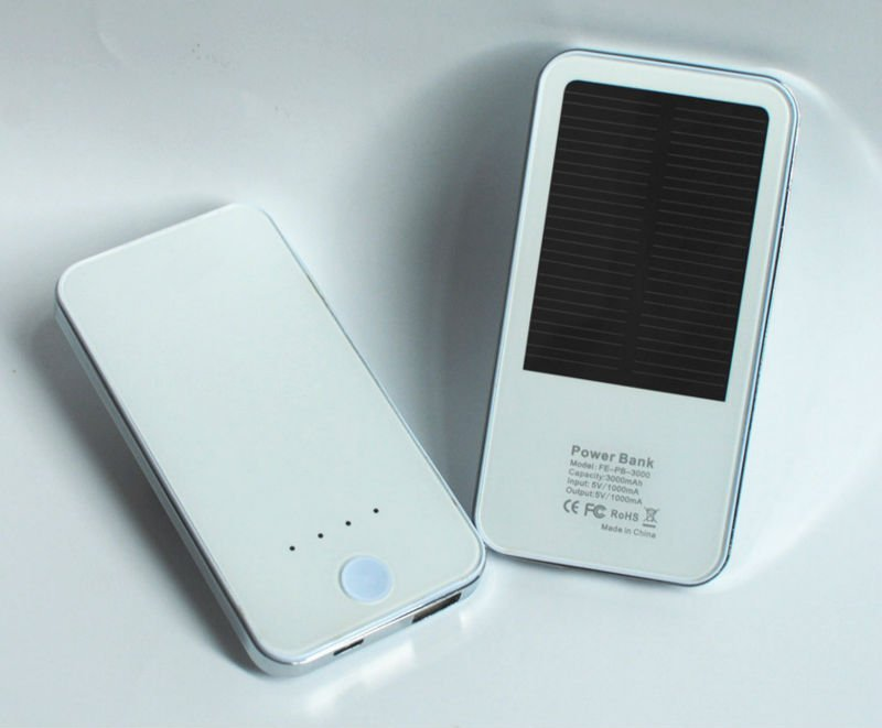 3000 mAh White External Solar Power Bank for iPhone