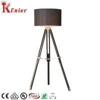 Black fabric big art deco wood cordless E12 floor lamp