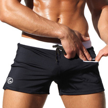 Sexy Men Swimwear Swimsuits 2015 New Low Waist Men's Swimming Trunks Pocket Beach Surf Board Shorts Mens Swim Suits Brand AQUX