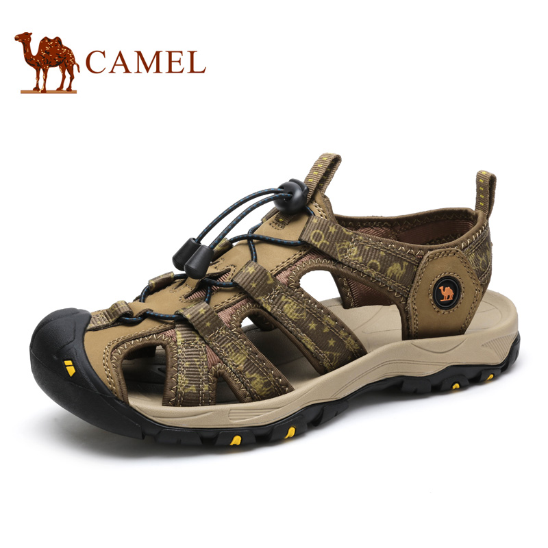 c152f3aad868 Men Sandals Camel Brand New Outdoor 2016 Anti-collision Toe Cap Cowhide  Casual Beach Sandals Summer Breathable River Sandal Male