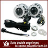 Wholesale Price Car Bi-Xenon HID Projector Lens Kit with Double angel eyes and bulb +12months warranty