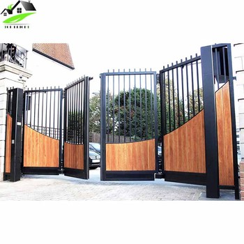 Double Forged Driveway Arch Front Used Wrought Folding Door Iron Gates New Design Gate Swing Designs Product