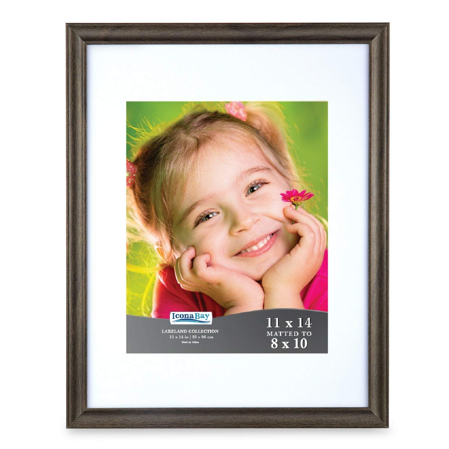 Icona Bay 11x14 Picture Frame with Mat Displays 8x10 Photo, Brown Frame, Wood Frame, Photo Frames for Wall or Table, Photo Frame 11x14, Picture Frame with Mat 8x10, Lakeland Collection