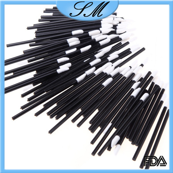 white flocked pad disposable lip brush applicator 50pcs