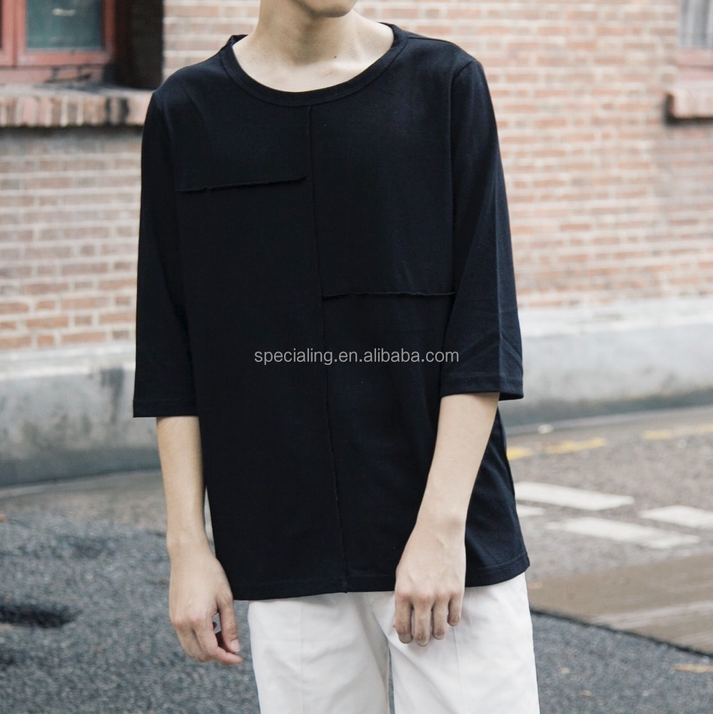 China Factory OEM Autumn custom blank t shirts no pattern o neck longline men fancy 100% combed cotton t shirt