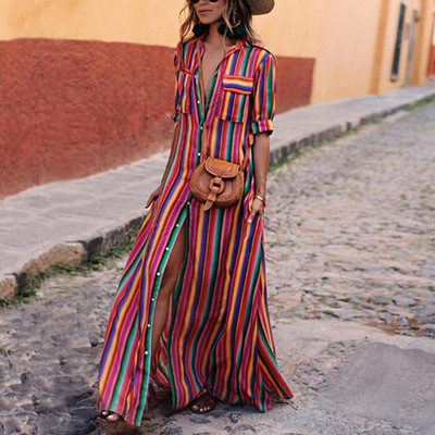 2019 Summer fashion red color print dress long skirt loose casual color striped shirt strap dress фото