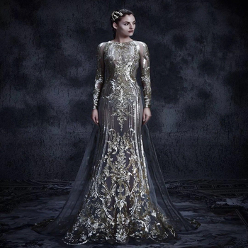 4d30fce859a9a Haute Couture Plus Size Evening Dress Long Sleeve Gown 2018 - Buy ...
