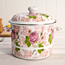 wholesale enamel non-stick cookware & rich peony decal enamel steamer