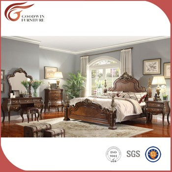 Hand Carved Antique American Classic Bedroom Furniture Sets King Queen Bed WA152